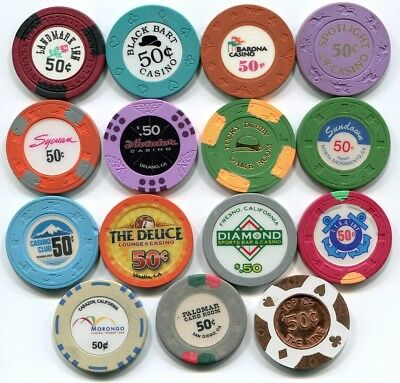 A lot of 15 50c casino chips from California