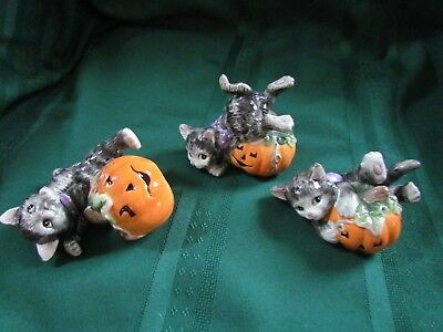 Fitz and Floyd  Halloween Cat Tumblers 3 pieces
