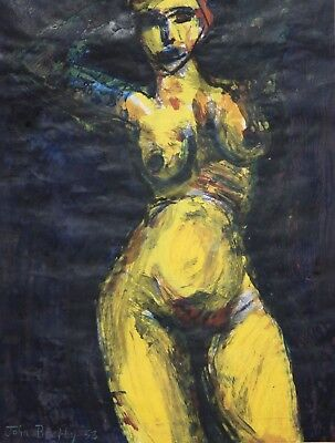 JOHN BRATBY-British Modernist-Original Signed Mixed Media-Yellow Female Nude