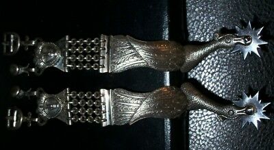 Vintage Antique AMAZING BEAUTIFUL SOLID SILVER MID-1800'S MILITARY SPURS