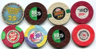 A lot of 8 25c casino chips