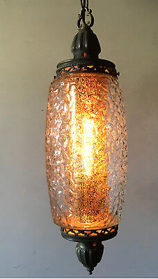 Vintage Glass w/ Screen & Chain Hanging Light Swag Lamp EF EF Industries