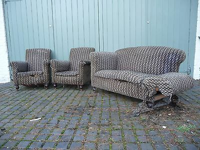 Antique drop-end Sofa and 2 chairs