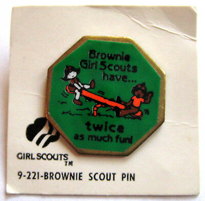 Vintage 1980s Girl Scout BROWNIES HAVE TWICE AS MUCH FUN-PIN Pendant Jewelry NEW