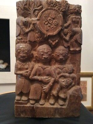 19th Century Carved Antique Wood Indian Panel 40x24 Cm