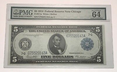 1914 $5 Federal Reserve Note Chicago-EPQ 64 Choice Uncirculated PMG