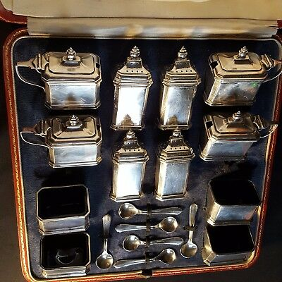 CASED English STERLING SILVER CONDIMENT/CRUET SET Antique GEORGE V. -HALLMARKED