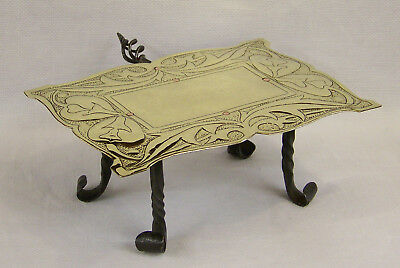 Superb Antique Art Nouveau Arts & Crafts Brass & Iron Trivet Or Hot Plate Stand