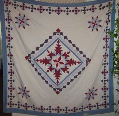 Vintage 1910-20s hand sewn Quilt 79 x 73