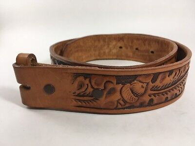Brown Tooled Leather Belt Children's Size 28 Comanchero Belts Acorns