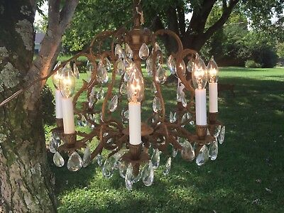 Antique Ornate Brass & Crystal Chandelier 8 Arm