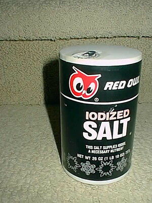 Vintage Red Owl Grocery Food Store Iodized Salt Container Can Box Carton Clean