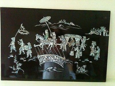 Asian Mother of Pearl Black Lacquered Wall Art