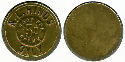UNLISTED INCUSE N.L. HINDS 5c DRINK SALOON TOKEN VENICE, MADISON CO, ILLINOIS IL
