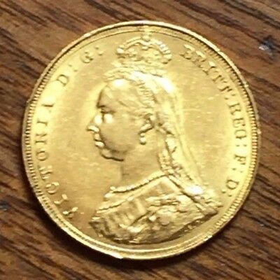 Great Britain Gold Sovereign 1887 Victoria Jubilee Head EF/AU