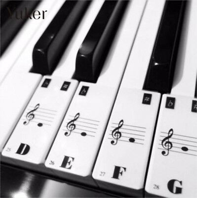 88 Color Piano Key Note Keyboard Stickers Label Decal Teach Learn to Play Music