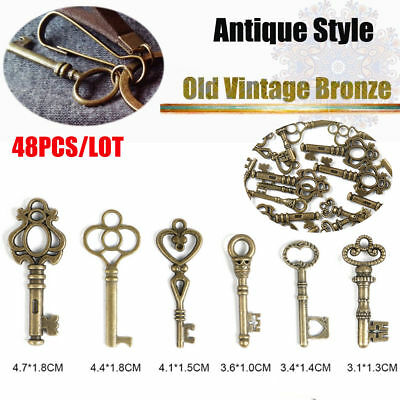 48 Skeleton Keys Antique Hollow Barrel Vintage Style Large Bronze Finish Key Set
