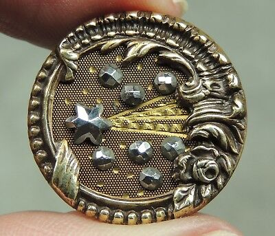 Brass Button ~ Comet Or Shooting Star With Rococo Border   Metal