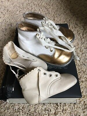 Vintage Baby Shoes Lot, Leather, One Pair Painted