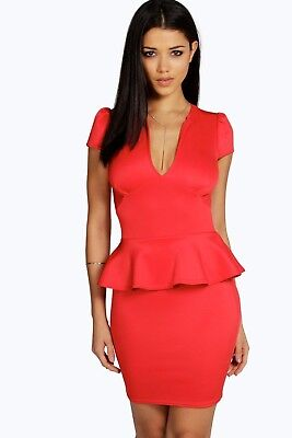 Boohoo Red Cocktail Party Or Office Dress Size 16 new with tags