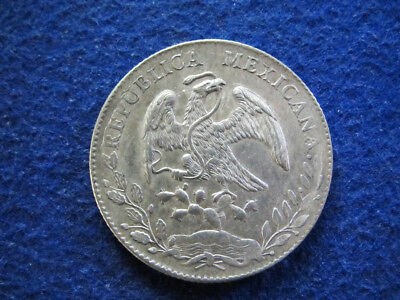 1892 Zs Mexico Silver 8 Reales - Zacatecas Mint - Free U S Shipping