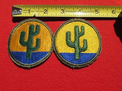 "ORIGINAL US ARMY 103RD INFANTRY ""CACTUS"" DIVISION PATCH Yellow  Gold variety set"