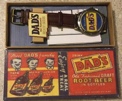 Collectible DAD'S Old Fashioned ROOT BEER Wrist Watch Leather Band New Battery