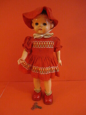 All Original Masudaya Mechanical Walking Red Riding Hood Doll Japan 1950