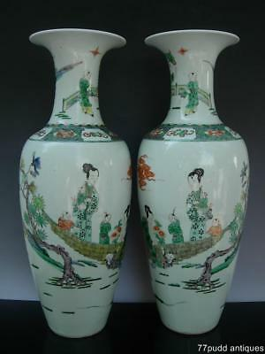 Pair Of Large Antique Chinese Famille Verte Porcelain Vases W Children Play