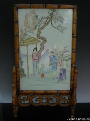 Nice Large Antique Chinese Famille Rose Porcelain Plaque W Figures