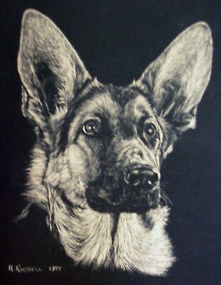 German Shepherd Print by R. Russell 1977 matted for 11 x 14 frame.