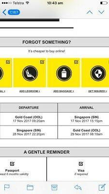Flights! 2 X RETURN FLIGHTS FROM GOLD COAST TO SINGAPORE 17/11 - 29/11