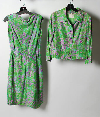 I.Magnin 1960's Green Purple Button Down Jacket Sleeveless Dress Suit  2 pieces