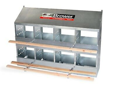 New! Brower 8 Hole Galvanized Hen Nest Chicken Nesting Laying Box. Made in USA!