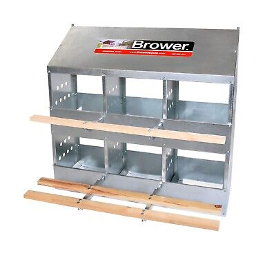 New! Brower 6 Hole Galvanized Hen Nest Chicken Nesting Laying Box. Made in USA!