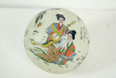 "Chinese 22.5"" Circumference Hand Thrown Painted Porcelain Ceramic Ball Sphere"