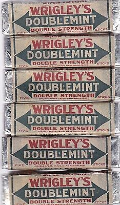 Vintage 6 WRIGLEYS Doublemint Spearmint Peppermint Packs of 5 Sticks GUM LOT