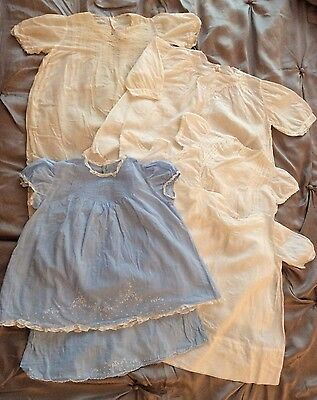 8 Antique Hand Embroidered Lawn Baby Dresses & Slips
