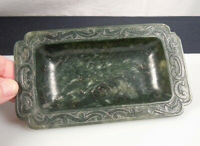 Chinese Carved Spinach Jade Brush Washer