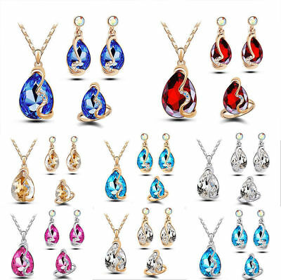 Fashion Silver/Gold Plated Jewelry Set Cubic Zirconia Pendant Necklace Earrings