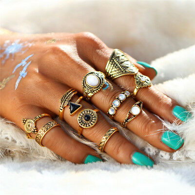 UK BOHO 10Pcs RING SET Bohemian Gypsy Ethnic Tribal Turkish Jewellery Gift Gold