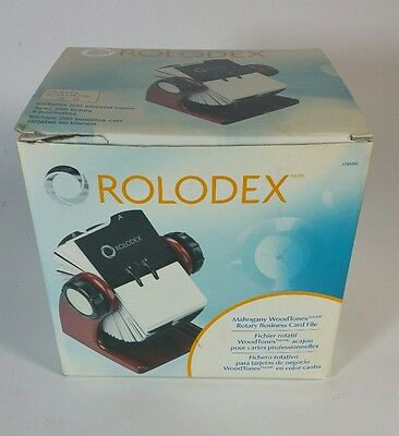 Rolodex Wood Tones Collection Open Rotary Business Card File, 400-Card, New