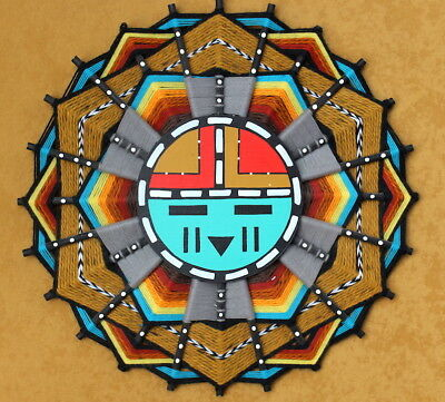1986 Hopi Indian DAWA SunFace/Indian Mandala/Ojo de Dios/SIGNED Sandra Hamana