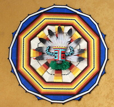 c.1985 Hopi Indian DAWA Kachina Mask/Indian Mandala/Ojo de Dios/By Sandra Hamana