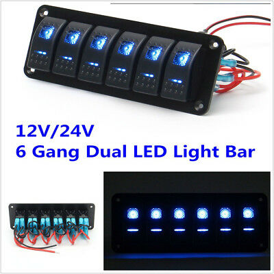 12V/24V 6 Gang Dual LED Light Bar Car Caravan Marine Boat Rv Rocker Switch Panel
