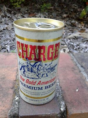 CHARGE! Bold American Premium pull tab beer can. Bottom opened steel from W Virg
