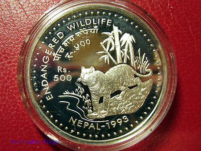 1993 Nepal Large Silver Proof  500 Rs-Tiger