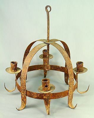 !Antique c.1800 Early Wrought Iron Four-Candle Chandelier Hanging Fixture