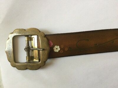 Vintage 1970s Gypsy Leather Belt Flowers Solid Brass Buckle Pink Tooled