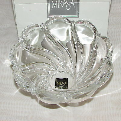 """Mikasa Glass Peppermint 5 1/2"""" Bowl Clear Crystal Germany Boxed Heavy Swirl Gift"""